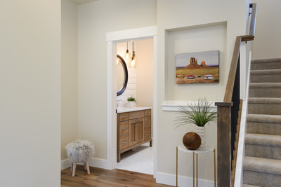 Interior entryway design image of Custom home in Bend, Oregon Northwest Crossing built by Structure Development NW an award winning homebuilder in Central Oregon. Farmhouse Style home with stunning interior design.