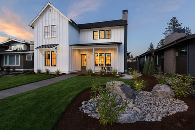Exterior image of Custom home in Bend, Oregon Northwest Crossing built by Structure Development NW an award winning homebuilder in Central Oregon. Farmhouse Style home with stunning interior design.